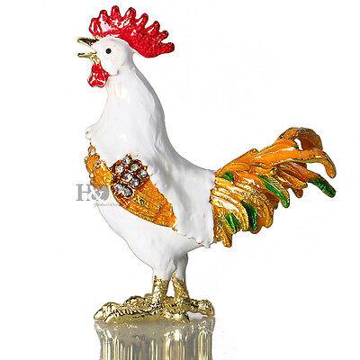 Hand Printing Crystal Metal Cock Figurines Trinket Box Collection Lady Gift