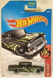 Hot Wheels 2017 #083//365 /'55 CHEVY black HW Flames