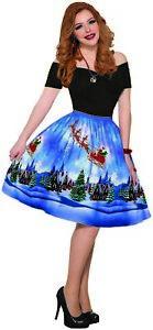 Womens Christmas Eve Winter Night Santa Dress One Size Holiday Party Dress