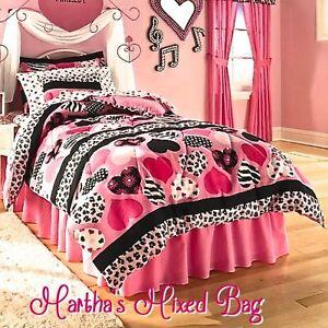 Details about HEARTS Teen Girls PiNK Black Zebra Stripe Animal Print  Comforter Set+ Bed Sheets