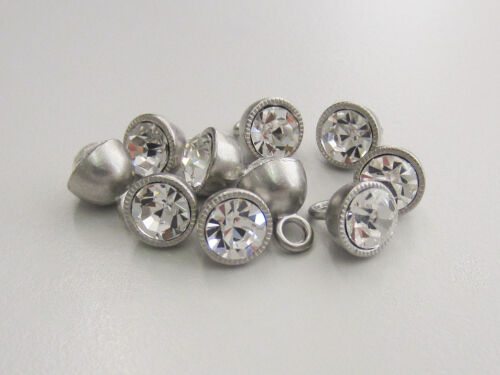 ojales de metal botones con vidrio auténtico efecto brillo piedra 3 pequeños silberfb 5591si-9