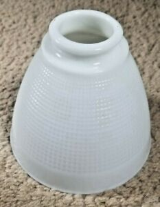 Vintage-Corning-White-Milk-Glass-Torchiere-Lamp-Shade-Diffuser-6-034-Waffle-Pattern