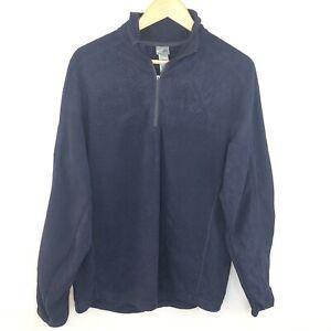 Vintage-90s-Navy-Blue-Champion-Logo-1-4-Zip-Pullover-Fleece-Jacket-Jumper-Meduim