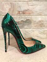 Christian Louboutin So Kate 120 Green Black Malachite Patent Heel Pump 39