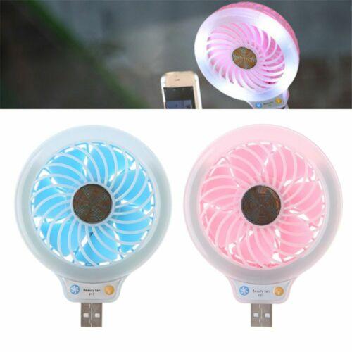 Mini Portable Usb Fan Rechargeable Air Cooling Desktop Fans With 4 LED Light