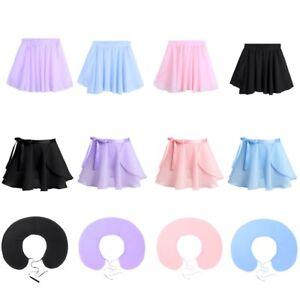 Children-Girl-Chiffon-Ballet-Leotard-Tutu-Wrap-Scarf-Skirt-Dance-Dress-Dancewear