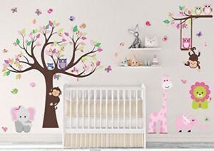 Details About Wall Decals Stickers Pink Jungle Animal Kids Cute Baby Nursery Decor New