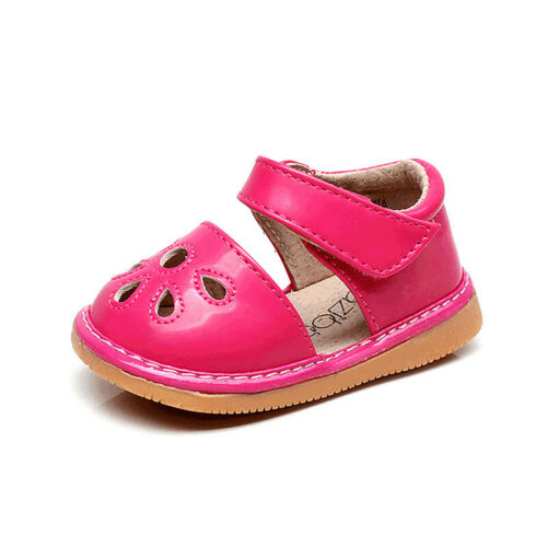 Kids Toddler Girls Squeaky Shoes Flower Hollow Punch Mary Jane Flats Sandals