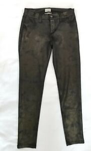 Sneak-Peek-Womens-Low-Rise-Black-Gold-Stretch-Skinny-Ankle-Pants-Size-Small