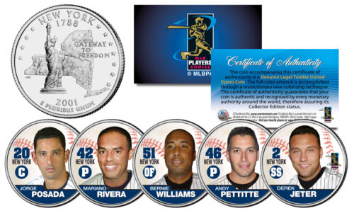 YANKEES FAB FIVE NY Quarters US 5-Coin Set JETER MARIANO POSADA PETTITTE BERNIE
