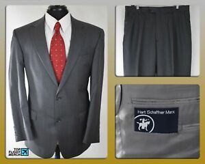 Hart-Schaffner-Marx-40R-2-Button-Suit-Charcoal-Gray-Pinstripe-100-Imported-Wool