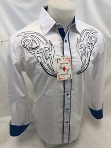 Mens-RODEO-WESTERN-COUNTRY-WHITE-Long-Sleeve-Woven-SNAP-UP-Shirt-Cowboy-06660