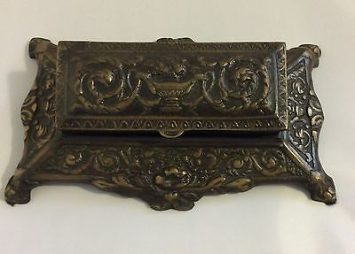 Vintage Reproduction Brass Desk Stamp / Coin Holder Victorian Style Heavy