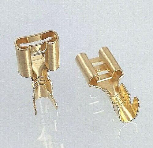 50x 6,3 cable zapatos conector plano calor Crimp enchufe fija unisoliert Blank GLD