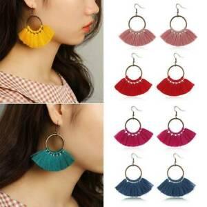 Fashion-Hoop-Fan-Tassel-Earring-Fringe-Circle-Round-Drop-Straw-Boho-Earrings