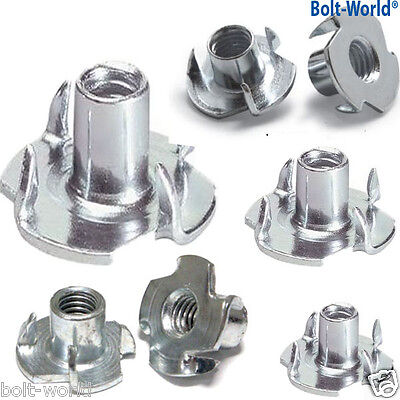 BLIND INSERTS FOR WOOD M4 M5 M6 M8 FOUR PRONGED T NUTS CAPTIVE FURNITURE