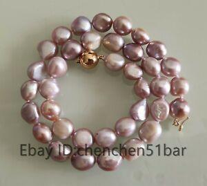 schoene-kultivierte-11-12mm-lila-barocke-Suesswasser-Perlenkette-18-Zoll