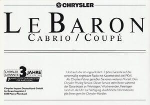 Vorsichtig Chrysler Lebaron Preisliste 1989 4/89 Ausstattung Price List Prijslijst Preise Auto & Motorrad: Teile