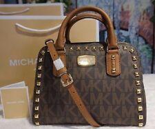 NWT MICHAEL KORS SAFFIANO STUD MK Sig SM. Satchel Bag BROWN/LUGGAGE Leather $348