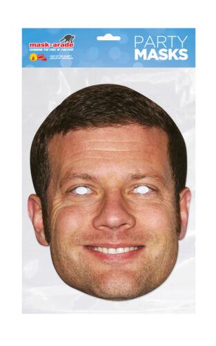 Dermot O/'Leary Face Party Mask Card A4 Fancy Dress TV Presenter Ladies Men Kids