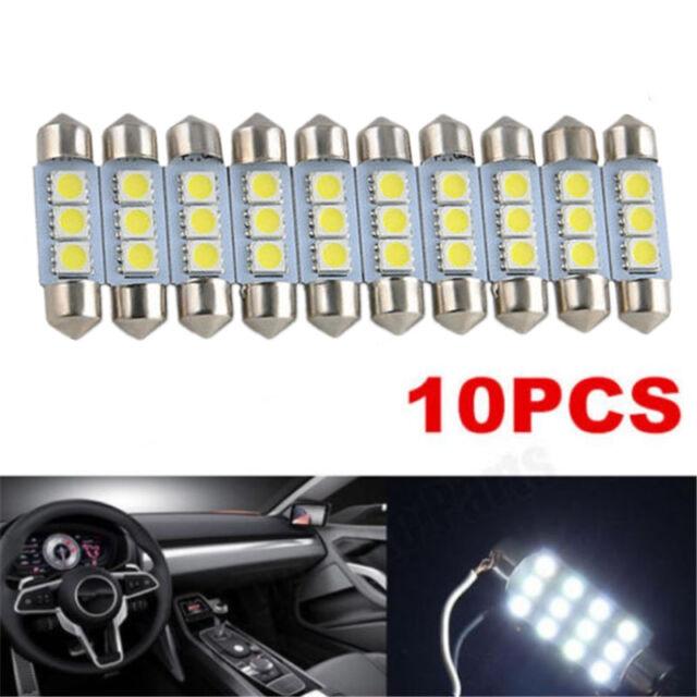 10PCS White 36MM 3 LED 5050 SMD Festoon Dome Car Light Interior Lamp Bulb 12V