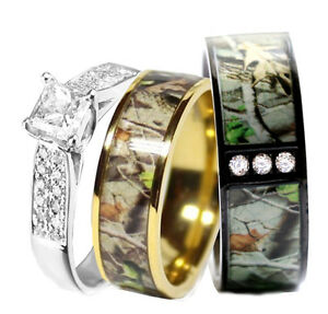 His-STAINLESS-STEEL-Hers-SILVER-amp-TITANIUM-Wedding-Rings-Set-Camo-Black-3-pcs