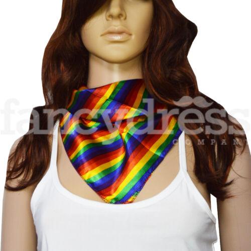 Rainbow Scarf Bandana Stripe Gay Pride March Clown Fancy Dress Accessory NEW