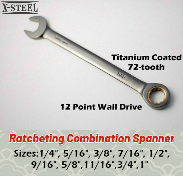 """Combination /Ring Open End Ratchet Spanner AF/SAE Imperial Individual 1/4""""-1"""""""