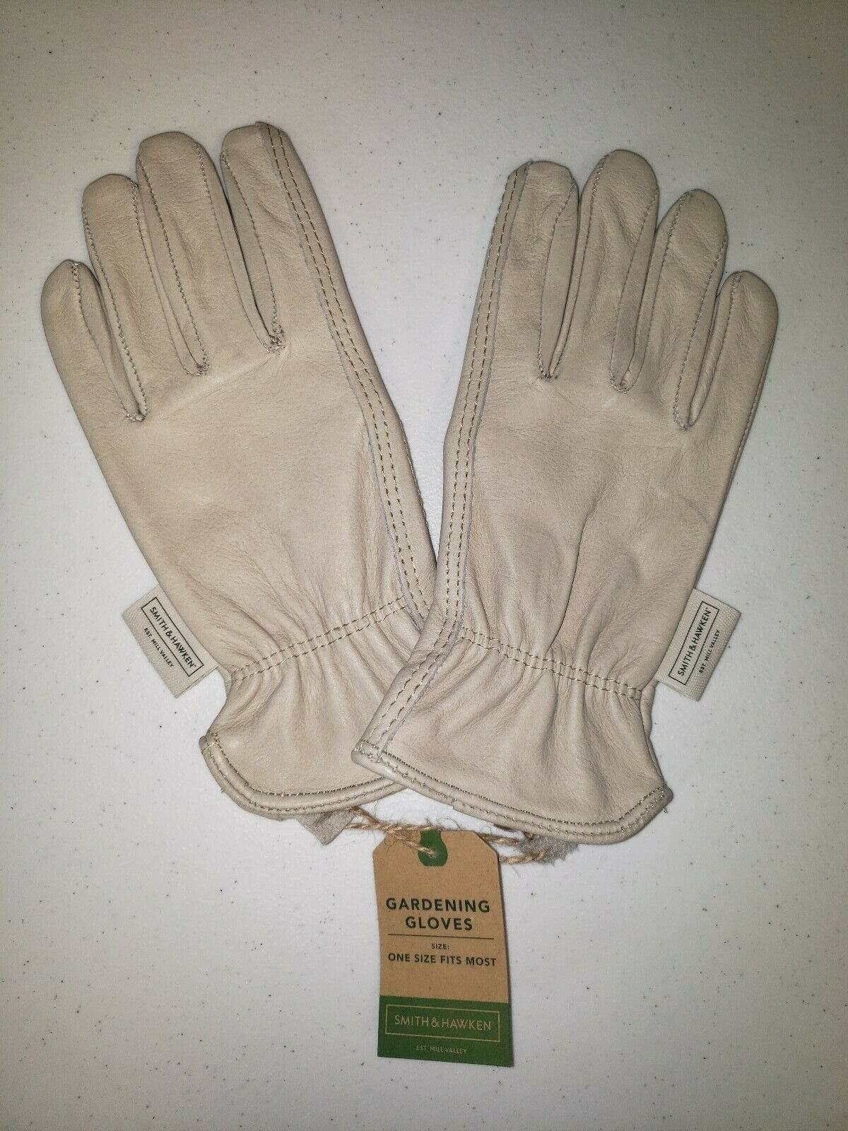 New Womens Gardening Gloves 100% Leather Smith & Hawken Small Cream 2