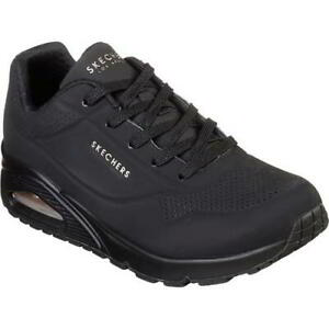 Skechers-Uno-Stand-On-Air-Womens-Ladies-Air-Trainers-Black-Size-4-8