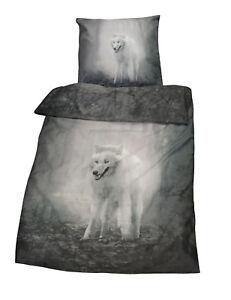 2-tlg-Bettwaesche-Microfaser-Twilight-Wolf-Kissen-Bezug-135x200-cm