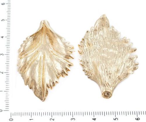 2pcs Gold Plated Large Leaf Bead Frame Tube Focal Pendants Charms Bohemian Metal