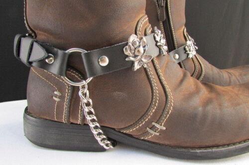 Biker Western Men Women Boot Silver Chain Pair Black Leather Straps Rose Flowers