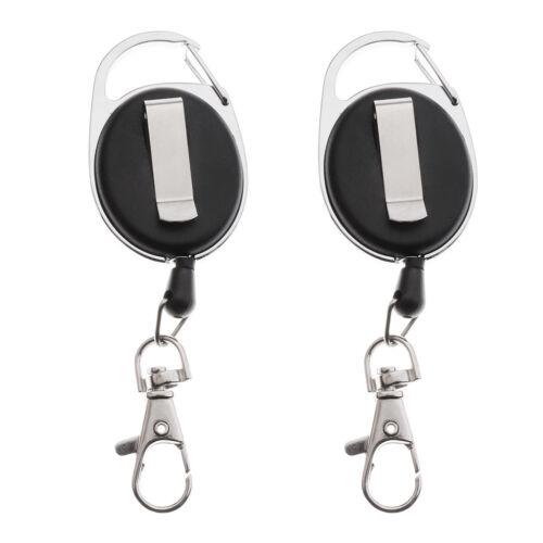 2x Black Retractable Key Reel - Recoil Cord Key Ring Pull Chain Belt Clip