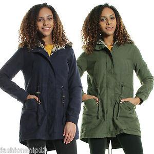 WOMENS Ladies FAUX FUR HOODED Lightweight PARKA JACKET Khaki Navy ...