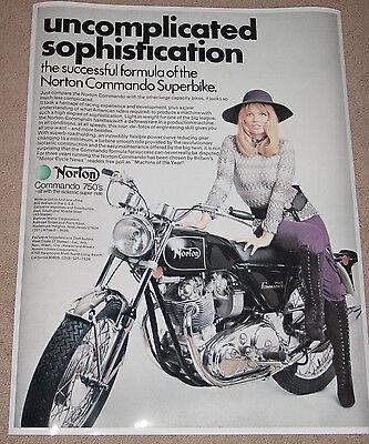 1971 NORTON COMMANDO 750 VINTAGE MOTORCYCLE AD POSTER 24x18 STYLE A