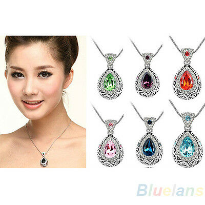 CRYSTAL RHINESTONE WATER DROP DROPLET VINTAGE STYLE PENDANT NECKLACE CHAIN BK4K