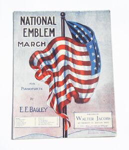 1911 national emblem march piano sheet music patriotic bagley song usa flag ebay. Black Bedroom Furniture Sets. Home Design Ideas