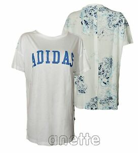 Adidas Originals Womens Top Long Line Button Fly Patterned Back ... 433c535c97f47