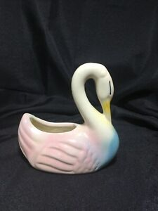 Vintage Shawnee Swan Ceramic Planter with Blue and Pink Colors
