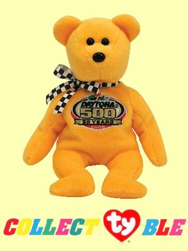 "Ty® 8/"" NASCAR Racing Gold 2008 Beanie Babies® Gold Daytona 500 50th Anniv Bear"