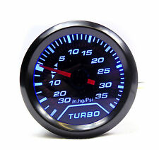 """BR 52mm 2"""" Smoked Dial Turbo Boost gauge 35 Psi Pressure Blue back-light"""