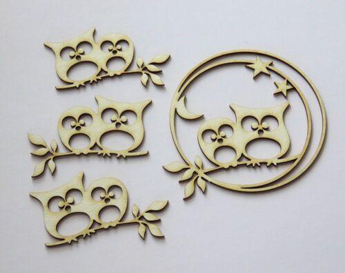 decoration relief CHIPBOARD die cuts DIE CUT 4 pieces hiboux en cercle