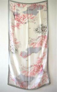 XXL-SCHAL-Japanisches-Design-mit-Baeumen-Weiss-Pink-Grau-Schw-Seide-Viskose