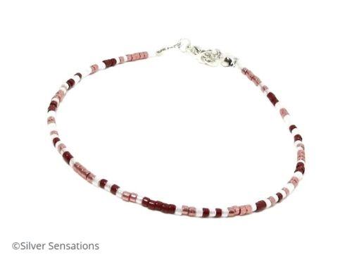 Dainty Anklet Slim Dark Pink Red /& Pearly White Seed Bead Skinny Bracelet
