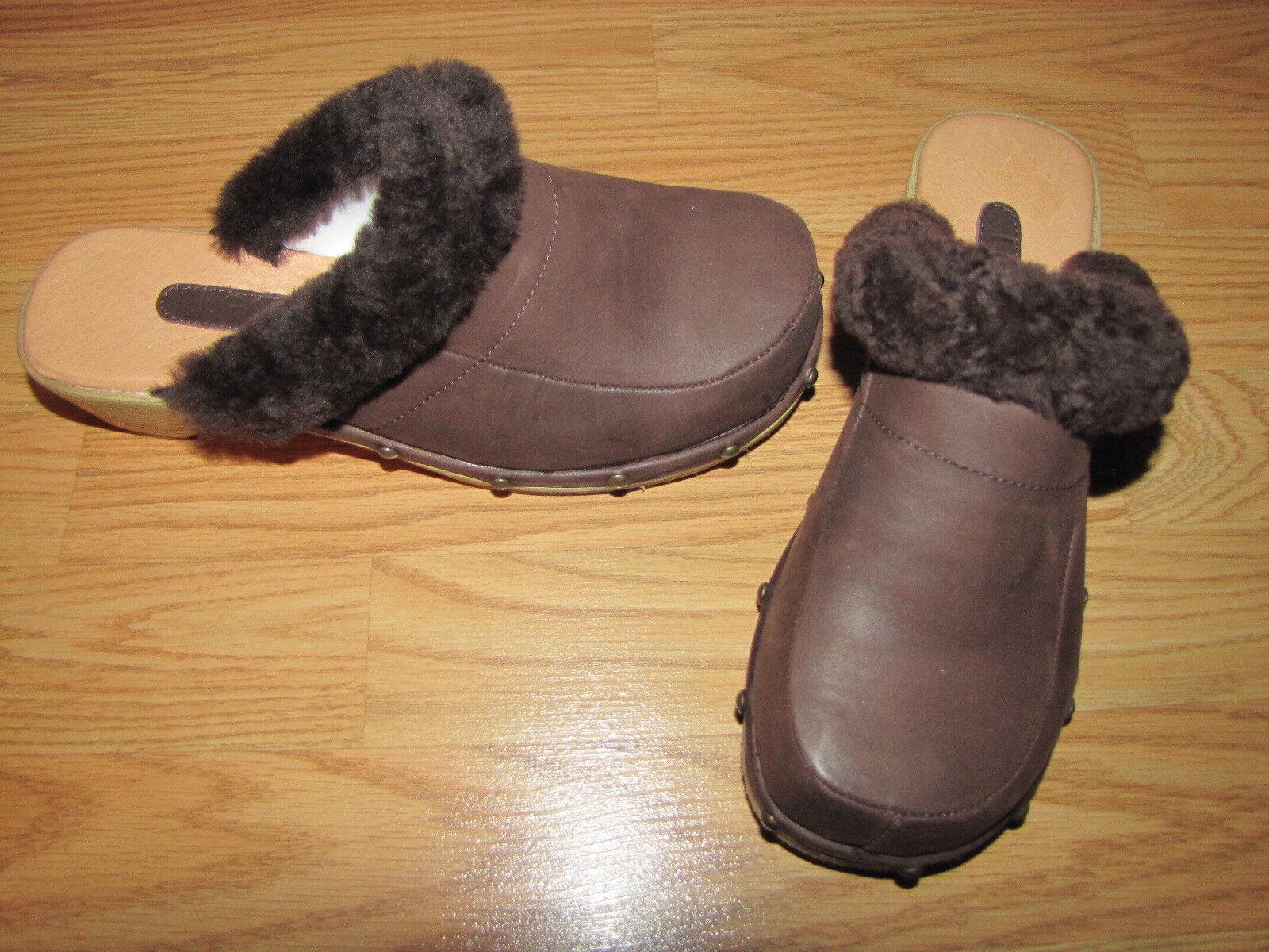 NWOB Lamo 'Monica' Brown Sheepskin Clogs - 8 European 38.5