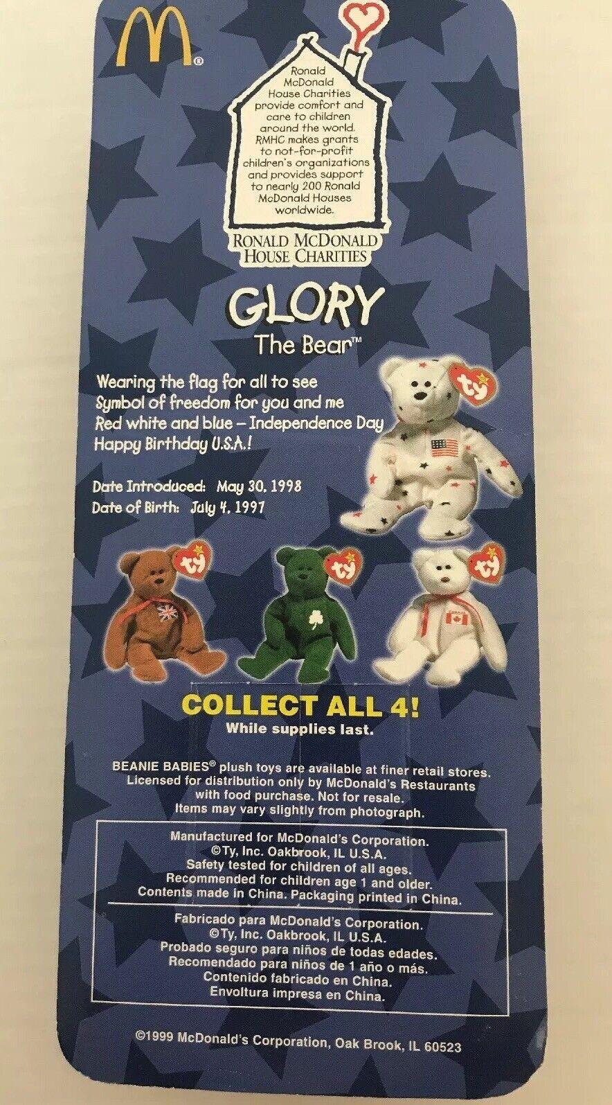 Ty Teenie Beanie Baby Glory The Bear, Ronald McDonald House  Charities**Rare**