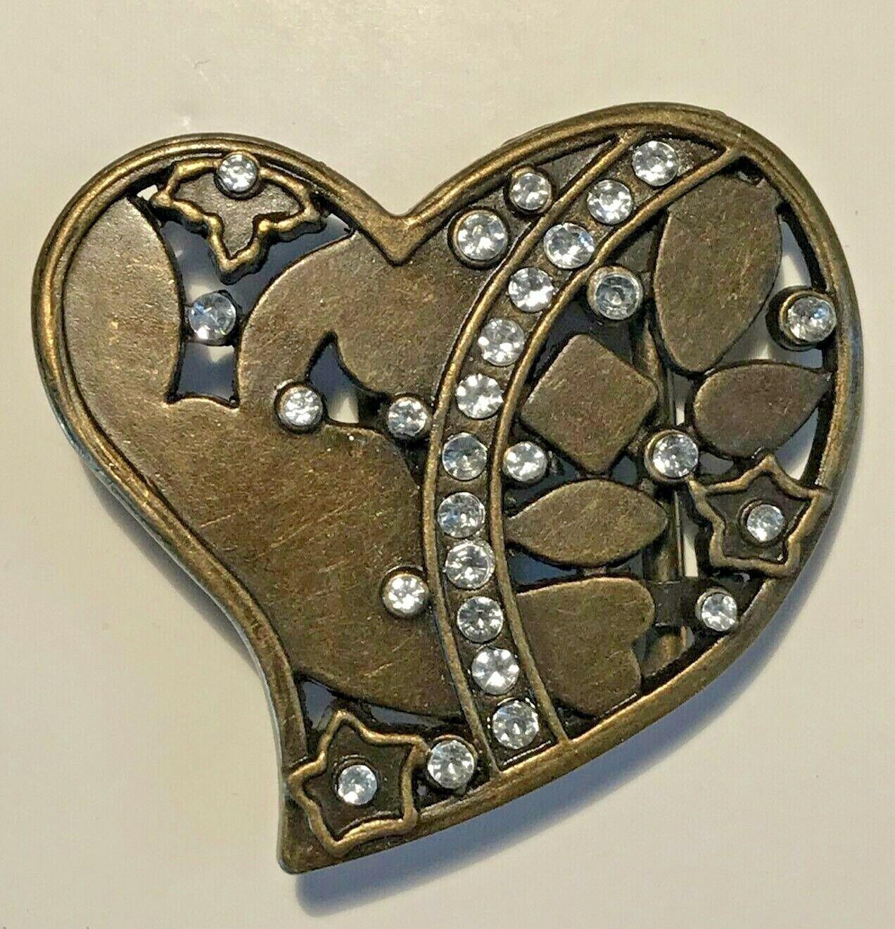 Woman's Belt Buckle Rhinestone Studded Heart Shaped 2R1-13