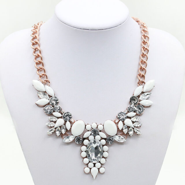 Vintage Retro Flower Crystal Statement Bib Pendant Chain Choker Necklace Jewelry