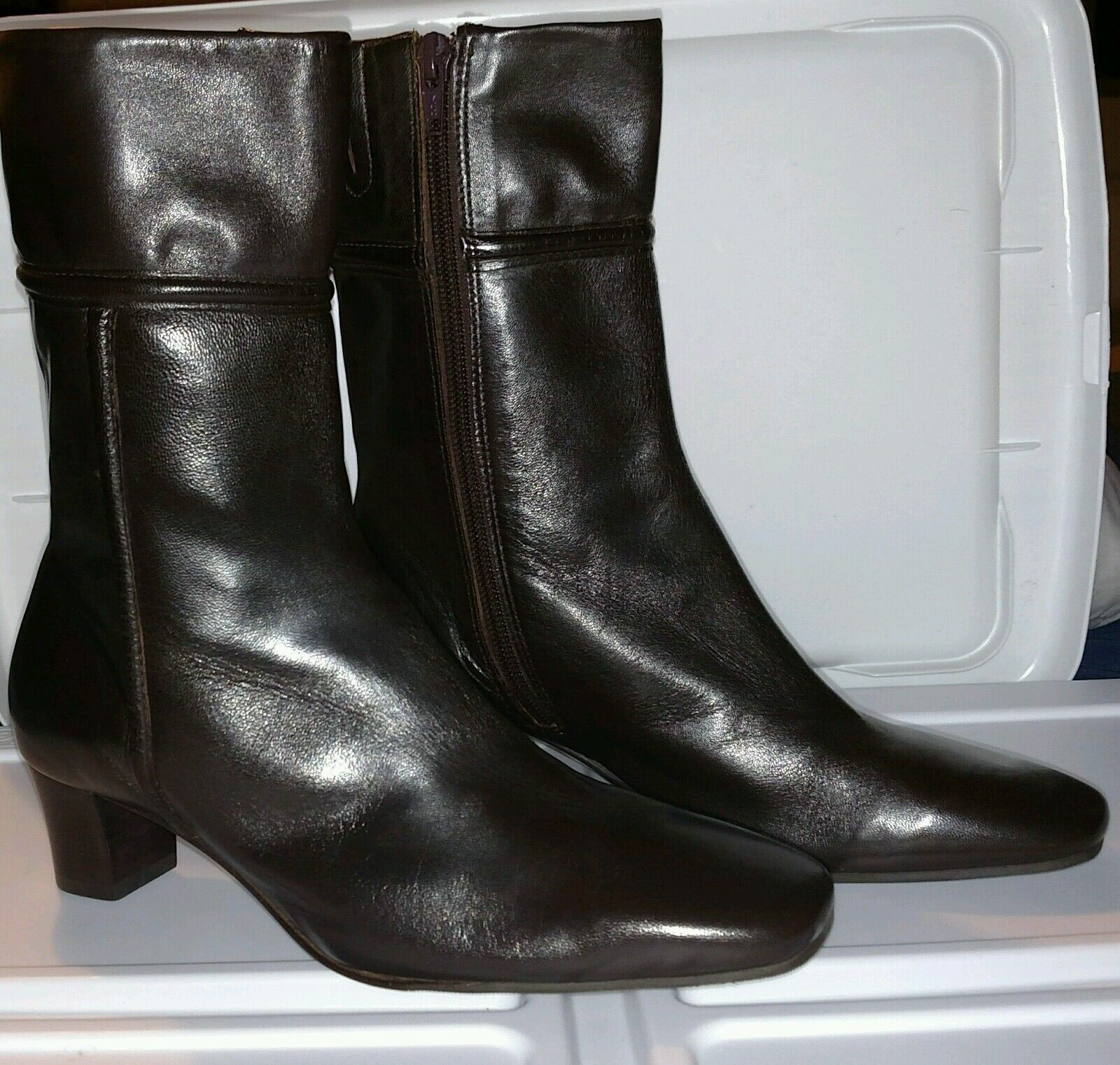 ANTONIO MELANI Brown Leather Womens Boots Heels 6M Stretch Vero Cuoio Italy Zip